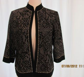 Ming Wang Black Gold Metallic Jacket with Gold Studs M