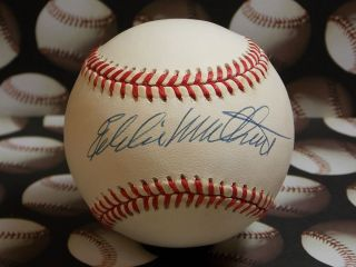 MILWAUKEE BRAVES EDDIE MATHEWS SIGNED AUTOGRAPHED ONL RAWLINGS