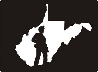 White WV West Virginia State Coal Miner Decal Sticker REALLY FAST FREE