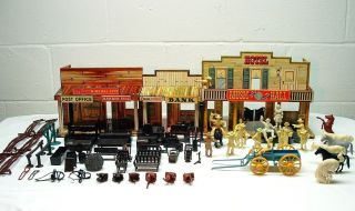 Marx 1950s Roy Rogers Mineral City Western Town Tin Playset w