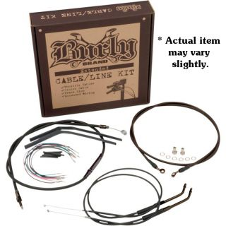 Burly 16 Ape Hangers Handlebar Cable & Wire Kit for 2007 2012 Harley