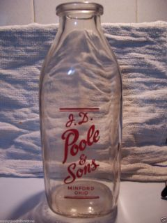 Poole and Sons Dairy Milk Bottle Minford Ohio Oh Portsmouth