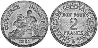 France 2 Francs, 1921, French Chamber of Commerce