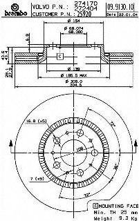Brembo 25920 Disc Brake Rotor