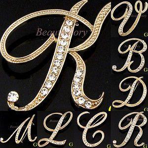 Austrian rhinestone crystal English Letter brooch pin