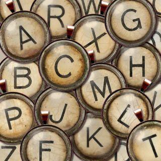 Vtg Typewriter Key Intial Letter Monogram Graphic Charm Necklace/Penda