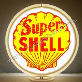 SUPER SHELL GASOLINE & OIL GAS PUMP GLOBE SIGN FREE S&H G 176