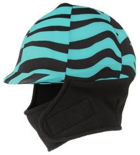 WINTER Spandex Riding Helmet Cover Up TEAL Zebra Print Design English