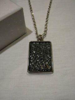 NWT Armani Exchange Mens Necklace Silver Dog Tag Black Texture NIB