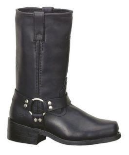 Ad Tec Mens Harness Motorcycle Boot 13 Upper Black Leather, Biker