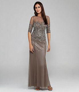 ADRIANNA PAPELL Women Beaded Sheer Sleeve Gown Plus Size 16W 18W 20W
