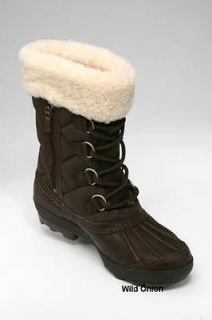 UGG Newberry Adirondack Women Brown Waterproof Sheepskin Boot 9 US NEW