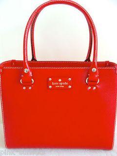 KATE SPADE Wellesley Quinn Geranium Red Leather Tote Bag Handbag $398