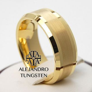 Newly listed Alejandro Tungsten Carbide Ring 18K Gold Brushed Superb