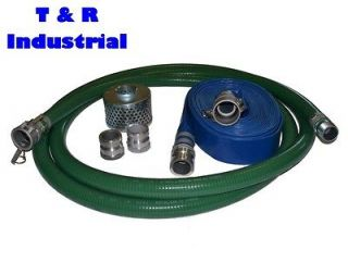 Green FCAM x MP Water Suction Hose Trash Pump Complete Kit w/50
