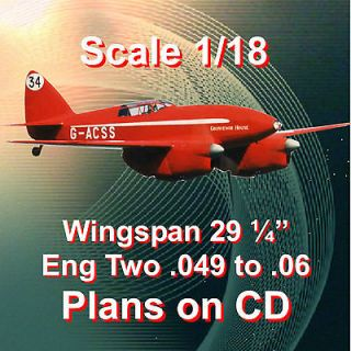 SCALE CONTROL LINE MODEL AIRPLANE PLANS DH 88 COMET PLAN & BUILDING