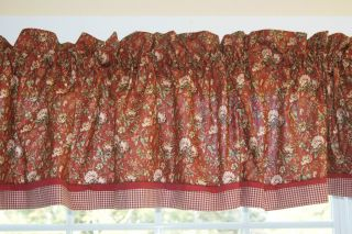 Burnt Orange Red Green Floral Toile Valance 17 X 81 Drapery Weight