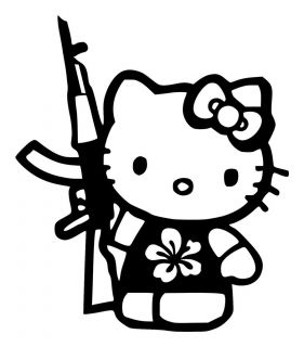 Hello Kitty AK47 gun decal sticker Hibiscus or original flowwe AVA