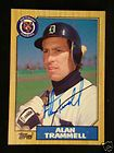 ALAN TRAMMELL AUTOGRAPHED 1987 TOPPS CARD DETROIT TIGER