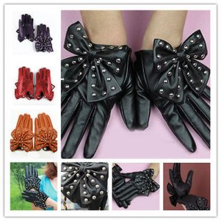 Women LADY Rivets Butterfly Bow Soft PU Leather Gloves 4 Colors