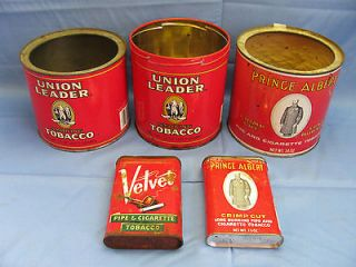 Vintage Tobacco Tin Cans   Prince Albert~Union Leader~Velvet~ Lot of 5