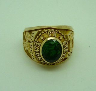10ct gold Alamance high school football college ring with green centre