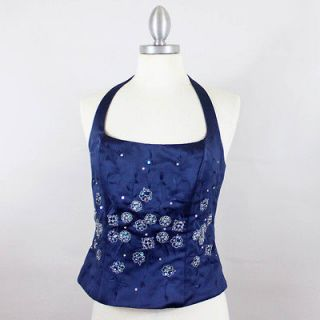 Alfred Angelo Sapphire Blue Embellished Halter Top Bridesmaid