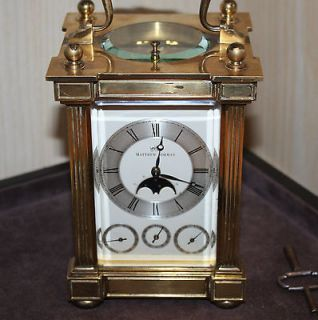MATTHEW NORMAN 8 DAY BRASS CARRAIGE CLOCK   DAY/DATE/ALARM & MOONPHASE