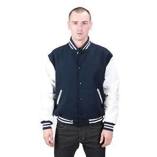 New Mens Wool Varsity Jacket with Leather Sleeves   4 Colors M L XL