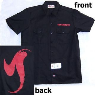 SEVENDUST RED LOGOS DICKIES BLACK WORK SHIRT LARGE NEW