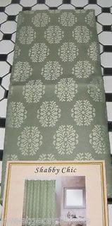 SHABBY SAGE JACQUARD Fabric Shower Curtain GREEN CHIC MEDALLION