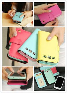 Women Candy Color Wallet Flip Cell Phone Case Cover For Samsung galaxy
