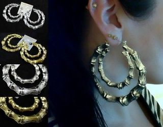 HUGE double bamboo effect creole hoop earrings, gold or silver tone