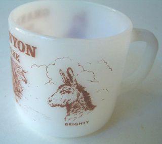 SHIELD MILK GLASS MUG GRAND CANYON NATIONAL PARK KACHINA DOLL BRIGHTY