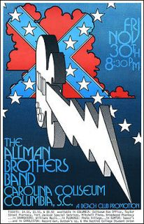 ALLMAN BROTHERS BAND Columbia SC 1973 Concert Poster