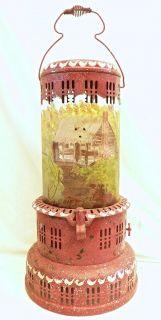 PERFECTION Kerosene Heater / American Folk Art Cabin Scene   Estate