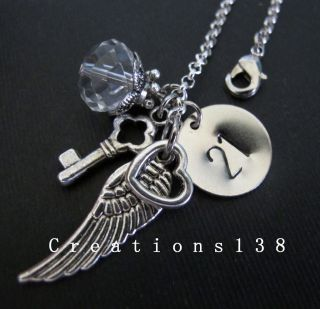 21st Birthday Gifts Angel Wing Heart Key Crystal Charm Bracelet