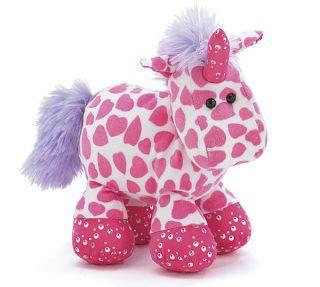 Unicorn Sparkles Stuffed Animal Toy Plush Valentine Hearts Pink Gift