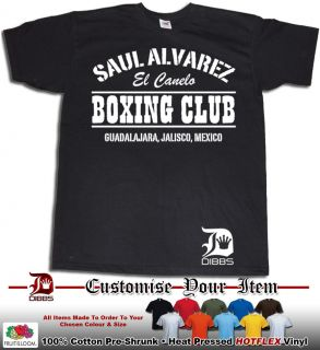 SAUL ALVAREZ TSHIRT BOXING CLUB EL CANELO MEXICO BOXING LEGEND