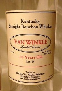 Van Winkle 12 Year Old Kentucky Bourbon Whiskey Bottle NO ALCOHOL MT