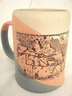 Collectible Pottery Fred Harvey Etched Grand Canyon MUG CUP