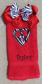 Zebra Print Peace Heart Red Hand Towel and Matching Zebra Bow Set