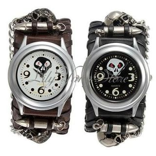 Rock Skull Leather Rivet Bullet Bracelet Chain Quartz Dial Wrist Watch