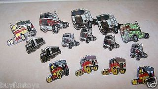 CABOVER SEMI TRACTOR Lapel Hat Pin Vintage Enamel Lot of 15 TRUCK NOS