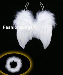 6m newborn baby costume feather angel wings Free Halo Bonus Photo