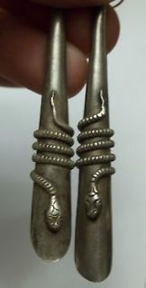 Vintage Sterling Snake Earrings AMAZING DETAIL 3 LONG Old Pawn Silver