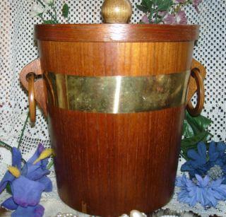 Vintage WOOD Wooden ICE BUCKET BRASS Colored METAL Handle LID JAPAN