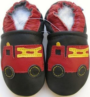 carozoo fire truck black 5 6y soft sole leather kids shoes slippers