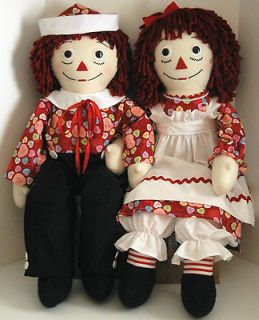 36 Life Size Raggedy Ann and Andy Dolls   Candy Hearts Fabric Cute