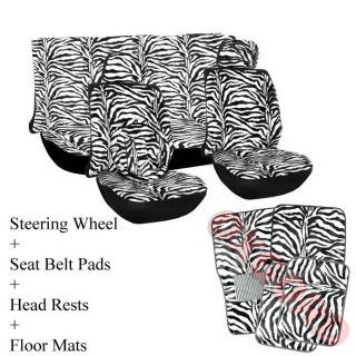15pc Set Seat Cover Black White Zebra Animal Print Floor Mat+Wheel
